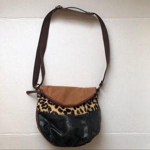 The Sak Fold over Pony Hair cross body purse